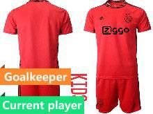 Kids 20-21 Soccer Afc Ajax Club Current Player Red Goalkeeper Short Sleeve Suit Jersey