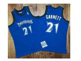 Mens Nba Minnesota Timberwolves #21 Kevin Garnett Blue Mitchell&ness Hardwood Classics Jersey