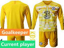 Kids 20-21 Soccer Chelsea Club Current Player Yellow Goalkeeper Long Sleeve Suit Jersey