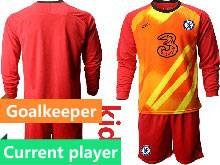 Kids 20-21 Soccer Chelsea Club Current Player Red Goalkeeper Long Sleeve Suit Jersey