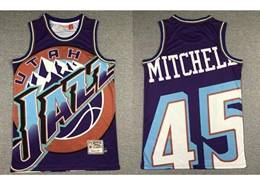 Mens Nba Utah Jazz #45 Donovan Mitchell Purple Printing Mitchell&ness Hardwood Classics Jersey