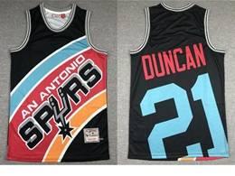 Mens Nba San Antonio Spurs Spurs #21 Tim Duncan Black Printing Mitchell&ness Hardwood Classics Jersey