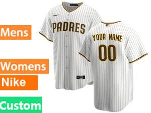 Mens San Diego Padres Custom Made Home 2020 White Stripe Cool Base Jersey