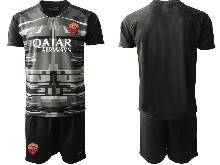 Mens 20-21 Soccer As Roma Club ( Custom Made ) Black Goalkeeper Short Sleeve Suit Jersey
