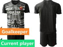 Mens 20-21 Soccer As Roma Club Current Player Black Goalkeeper Short Sleeve Suit Jersey