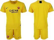 Mens 20-21 Soccer As Roma Club ( Custom Made ) Yellow Goalkeeper Short Sleeve Suit Jersey