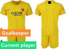 Mens 20-21 Soccer As Roma Club Current Player Yellow Goalkeeper Short Sleeve Suit Jersey