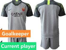 Mens 20-21 Soccer As Roma Club Current Player Gray Goalkeeper Short Sleeve Suit Jersey