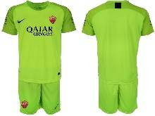 Mens 20-21 Soccer As Roma Club ( Custom Made ) Green Goalkeeper Short Sleeve Suit Jersey