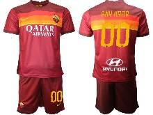 Mens 20-21 Soccer As Roma Club ( Custom Made ) Red Home Short Sleeve Suit Jersey
