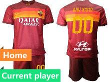 Mens 20-21 Soccer As Roma Club Current Player Red Home Short Sleeve Suit Jersey