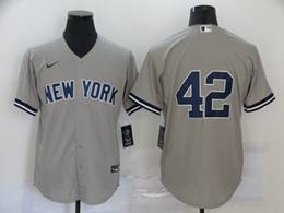 Mens Mlb New York Yankees #42 Mariano Rivera Gray Cool Base Nike Jersey No Name
