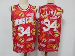 Mens Nba Houston Rockets #34 Hakeem Olajuwon Red Hwc Printing Tear Up Pack Mitchell&ness Swingman Jersey