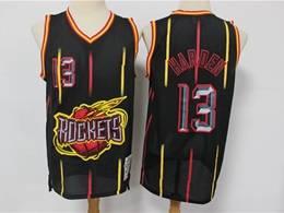 Mens Nba Houston Rockets #13 James Harden Black Stripe Mitchell&ness Hardwood Classics Mesh Jersesy