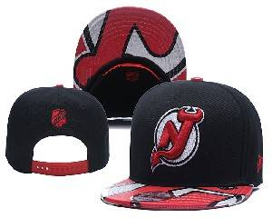 Mens Nhl New Jersey Devils Falt Snapback Adjustable Hats Black