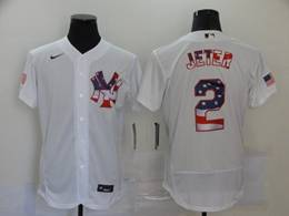 Mens Mlb New York Yankees #2 Derek Jeter White Usa Flag Flex Base Nike Jersey