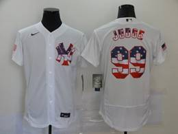Mens Mlb New York Yankees #99 Aaron Judge White Usa Flag Flex Base Nike Jersey
