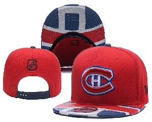 Mens Nhl Montreal Canadiens Falt Snapback Adjustable Hats Red Blue