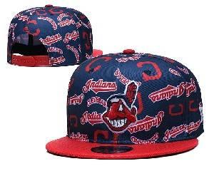 Mens Mlb Cleveland Indians Falt Snapback Adjustable Hats Blue