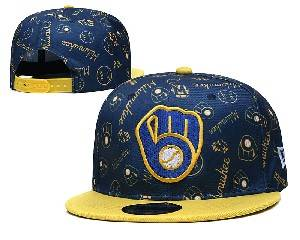 Mens Mlb Milwaukee Brewers Falt Snapback Adjustable Hats Blue