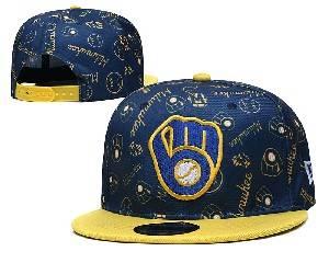 Mens Mlb Milwaukee Brewers Falt Snapback Adjustable Hats Blue