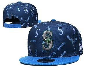 Mens Mlb Seattle Mariners Falt Snapback Adjustable Hats Blue