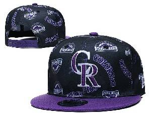 Mens Mlb Colorado Rockies Falt Snapback Adjustable Hats Black