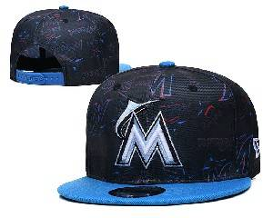 Mens Mlb Miami Marlins Falt Snapback Adjustable Hats Black