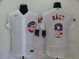 Mens Mlb Chicago Cubs #9 Javier Baez White Usa Flag Flex Base Nike Jersey