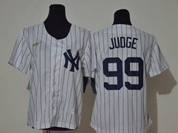 Women Youth Mlb New York Yankees #99 Aaron Judge White Black Stripe Cool Base Gold Logo Nike Jersey