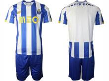 Mens 20-21 Soccer Fc Porto Club ( Custom Made ) Blue And White Stripe Home Short Sleeve Suit Jersey