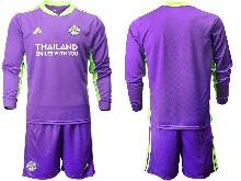 Mens 20-21 Soccer Leicester City Club ( Custom Made ) Purple Goalkeeper Long Sleeve Suit Jersey