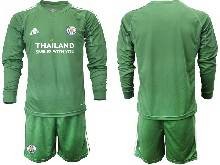 Mens 20-21 Soccer Leicester City Club ( Custom Made ) Green Goalkeeper Long Sleeve Suit Jersey