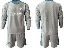 Mens 20-21 Soccer Leicester City Club ( Custom Made ) Gray Goalkeeper Long Sleeve Suit Jersey