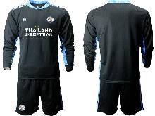 Mens 20-21 Soccer Leicester City Club ( Custom Made ) Black Goalkeeper Long Sleeve Suit Jersey