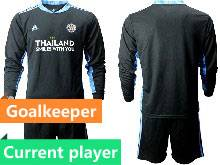 Mens 20-21 Soccer Leicester City Club Current Player Black Goalkeeper Long Sleeve Suit Jersey