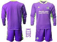 Kids 20-21 Soccer Leicester City Club ( Custom Made ) Purple Goalkeeper Long Sleeve Suit Jersey