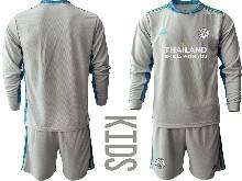 Kids 20-21 Soccer Leicester City Club ( Custom Made ) Gray Goalkeeper Long Sleeve Suit Jersey