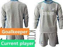 Kids 20-21 Soccer Leicester City Club Current Player Gray Goalkeeper Long Sleeve Suit Jersey