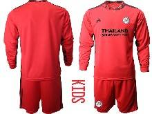 Kids 20-21 Soccer Leicester City Club ( Custom Made ) Red Goalkeeper Long Sleeve Suit Jersey