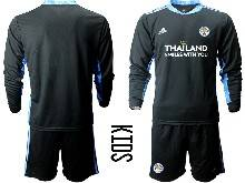 Kids 20-21 Soccer Leicester City Club ( Custom Made ) Black Goalkeeper Long Sleeve Suit Jersey