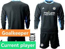 Kids 20-21 Soccer Leicester City Club Current Player Black Goalkeeper Long Sleeve Suit Jersey