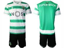 Mens 20-21 Soccer Sporting Cp Club ( Custom Made ) Green Home Short Sleeve Suit Jersey