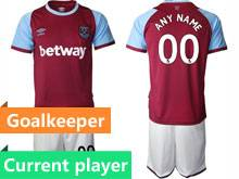 Mens 20-21 Soccer Soccer West Ham United Club Current Player Maroon Home Short Sleeve Suit Jersey