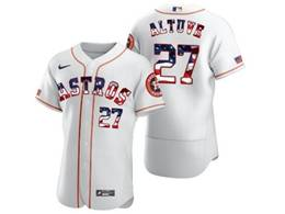 Mens Mlb Houston Astros #27 Jose Altuve White Usa Flag Flex Base Nike Jersey