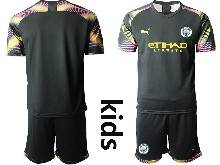 Kids 20-21 Soccer Manchester City Club ( Custom Made ) Black Goalkeeper Short Sleeve Suit Jersey
