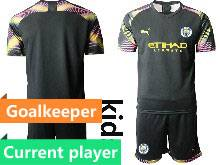 Kids 20-21 Soccer Manchester City Club Current Player Black Goalkeeper Short Sleeve Suit Jersey