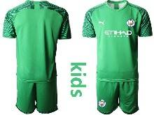Kids 20-21 Soccer Manchester City Club ( Custom Made ) Green Goalkeeper Short Sleeve Suit Jersey