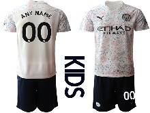 Kids 20-21 Soccer Manchester City Club ( Custom Made ) White Second Away Short Sleeve Suit Jersey