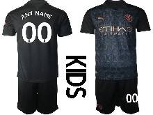 Kids 20-21 Soccer Manchester City Club ( Custom Made ) Black Away Short Sleeve Suit Jersey